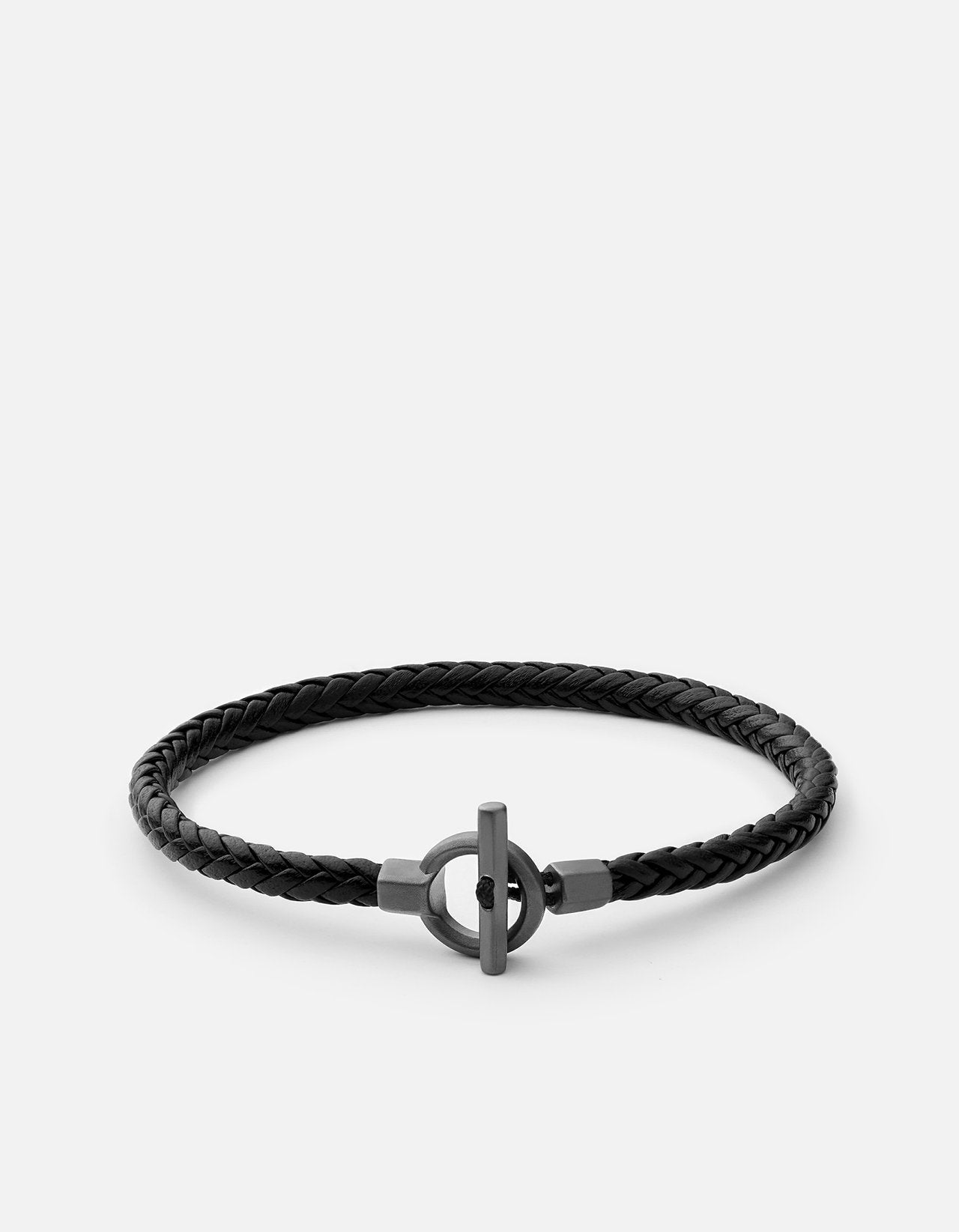 Miansai Atlas Leather Bracelet, Sterling Silver, Matte Black Rhodium