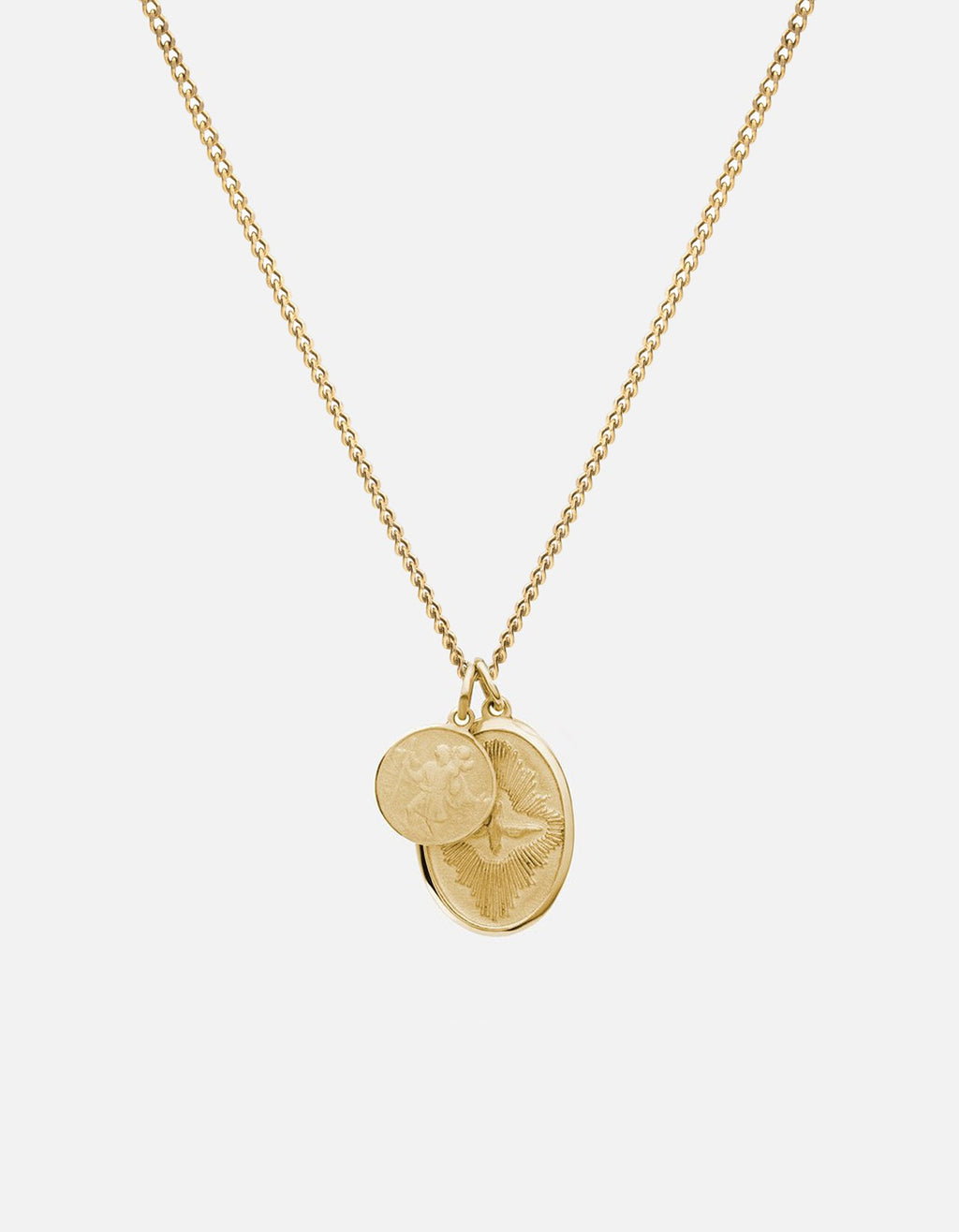 Miansai Mini Dove Pendant Necklace, 14k Yellow Gold, Brushed, 24in.