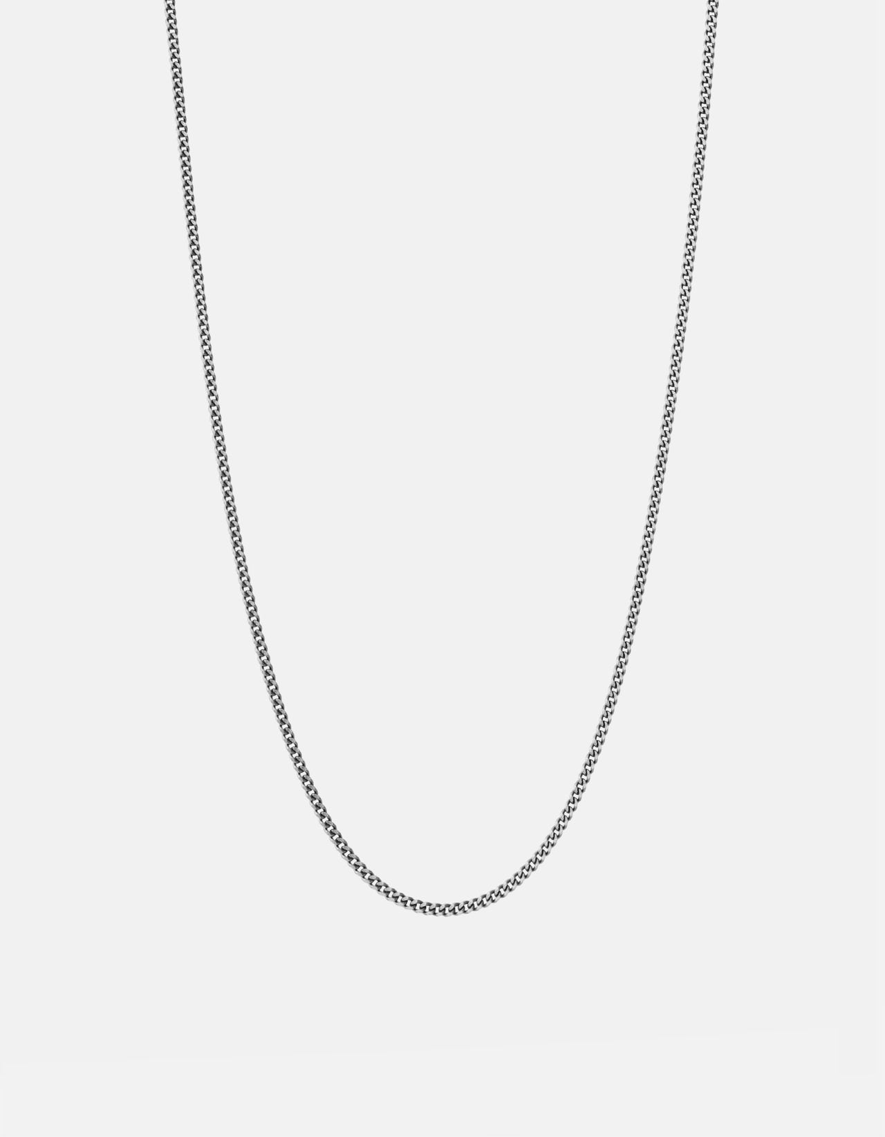 Miansai 2mm Sterling Silver Cuban Chain Necklace, Oxidized, Brushed