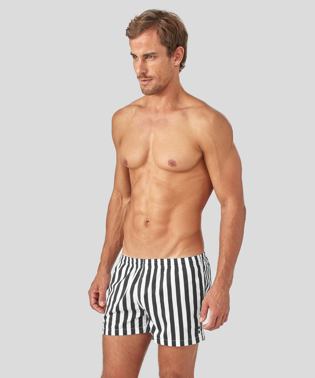 Ron-Dorff-Swim-Shorts-Vertical-Stripes-Black/White