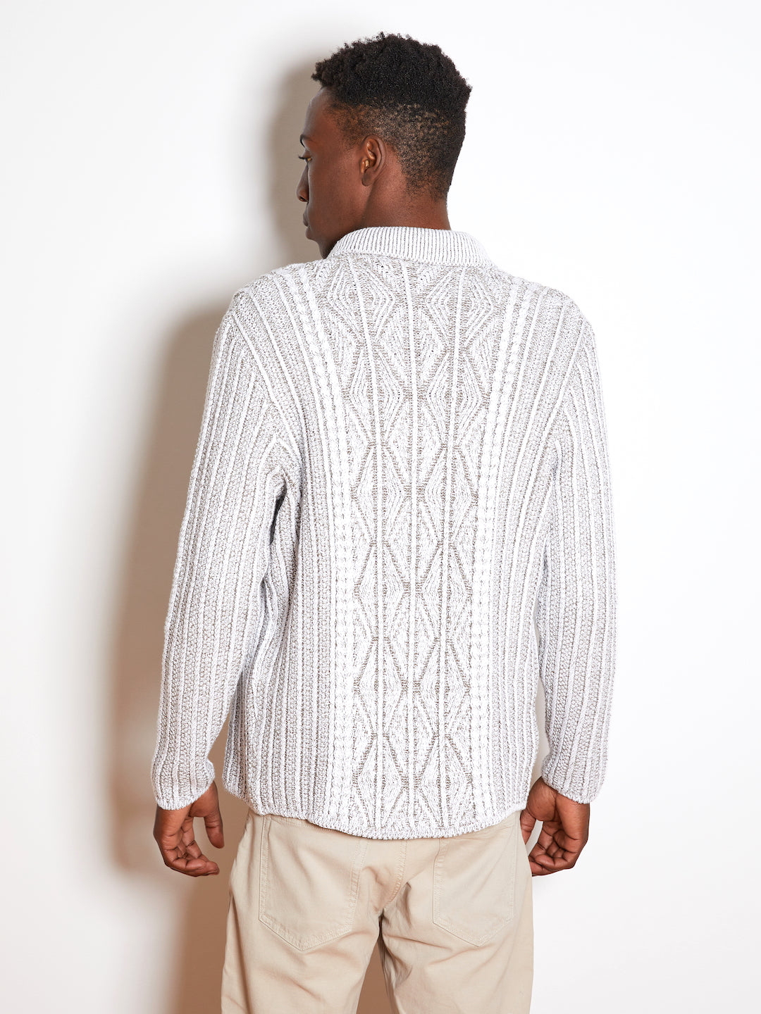 Inis Meain Aran Cable Sweater Jacket, Ivory/Beige