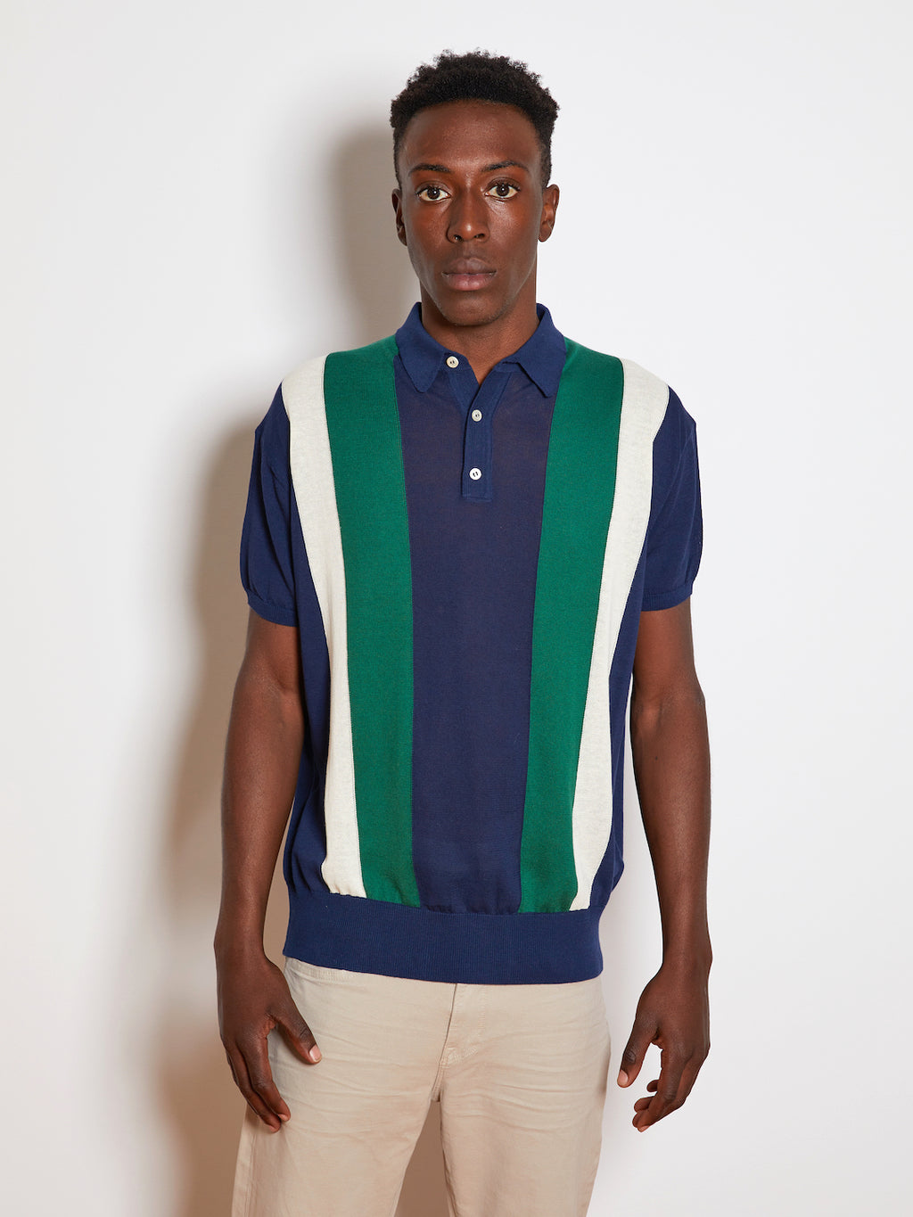 President's 50's Striped S/S Polo, Blue Navy