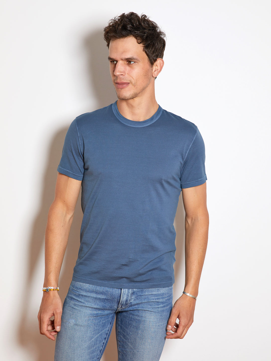 TEN C Knit Mako Jersey Short Sleeve Crewneck T-Shirt, Blue