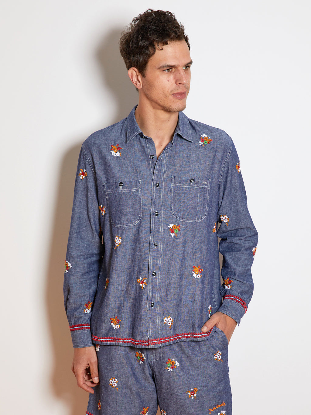 President's P's Embroidered Arkansas Chambray Shirt