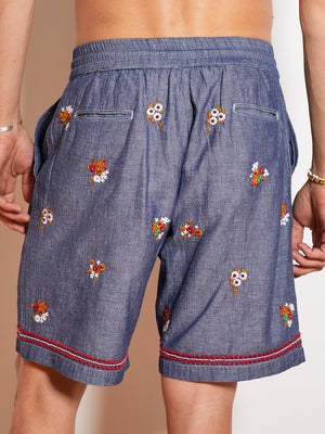 President's Leisure P's Embroidered Bermuda Short, Denim