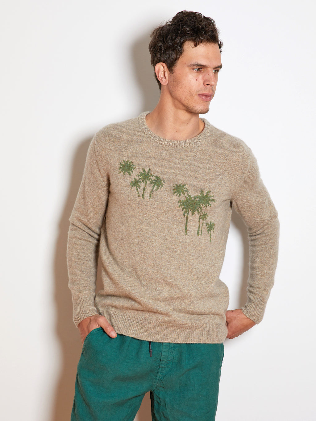 Harden Palm Cashmere Sweater, Oatmeal/Green