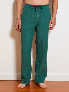 President's Leisure Compact Linen Dyed Trouser, Bottle Green