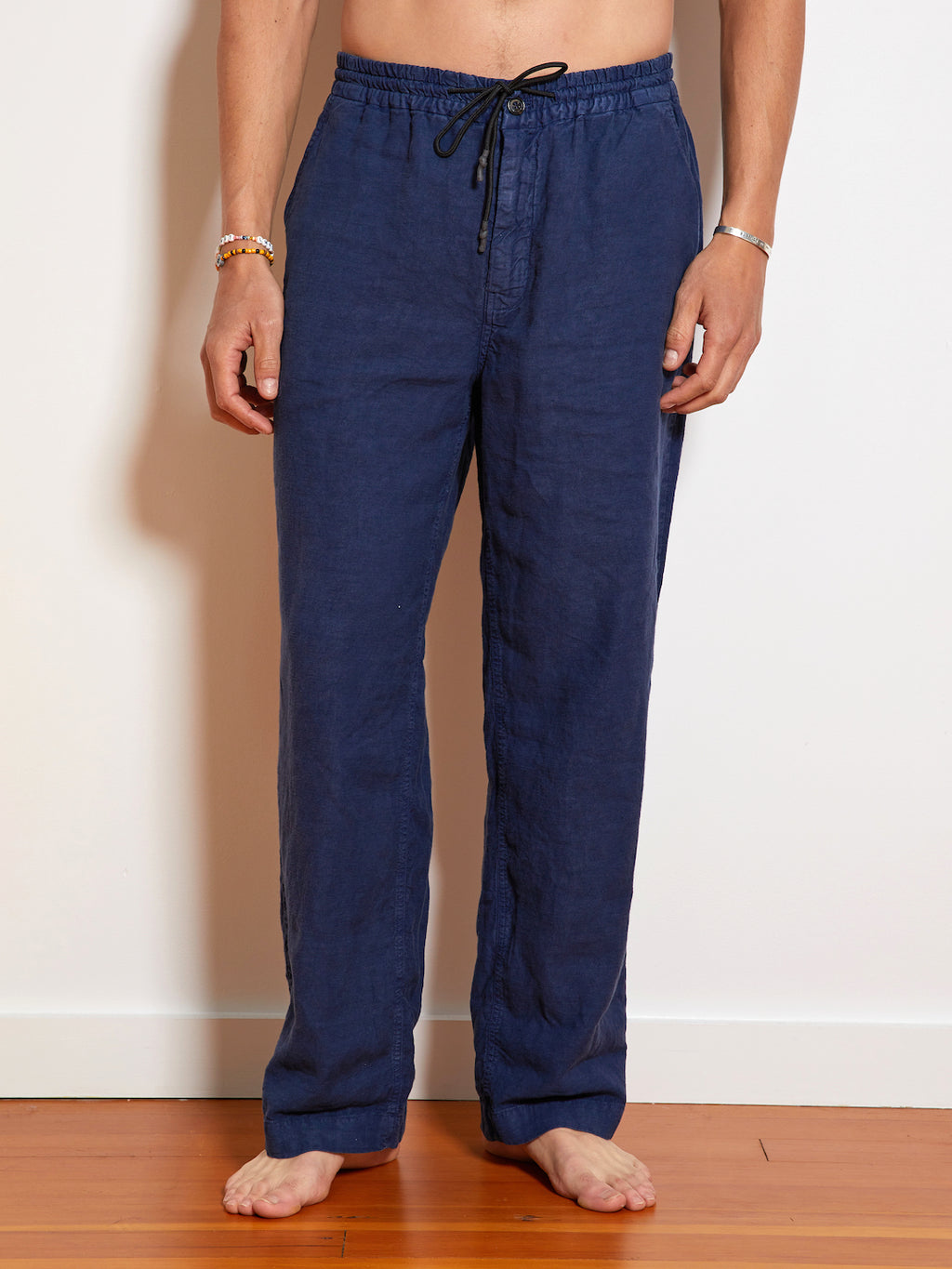 President's Leisure Compact Linen Dyed Trouser, Blue Moon