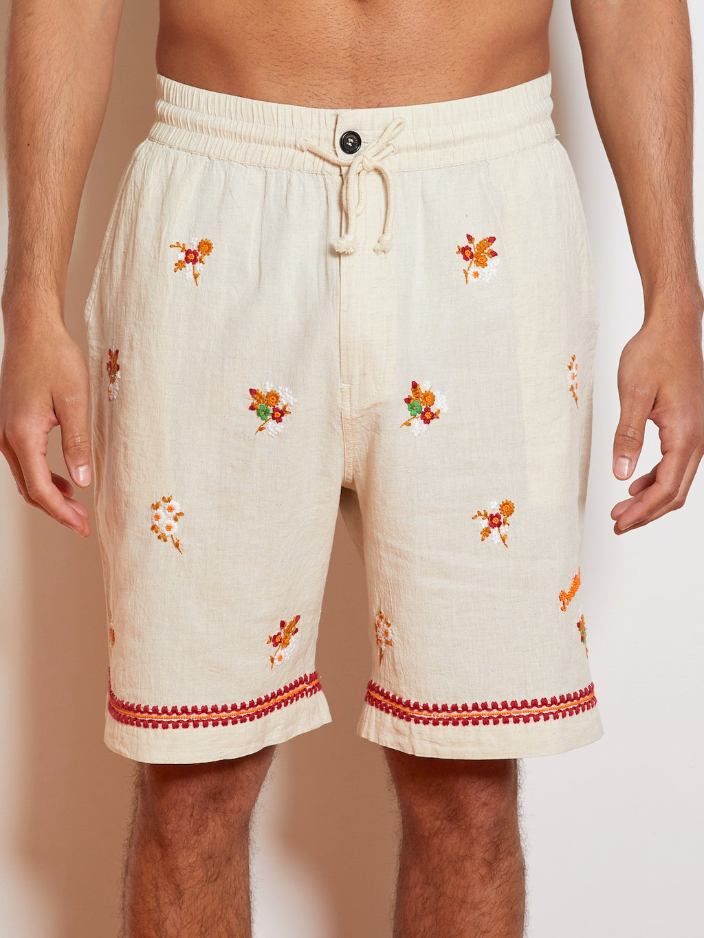 President's Leisure P's Embroidered Bermuda Short, Natural