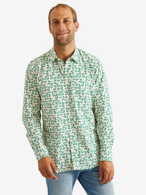 Bevilacqua David Shirt-White Green Fern Mix