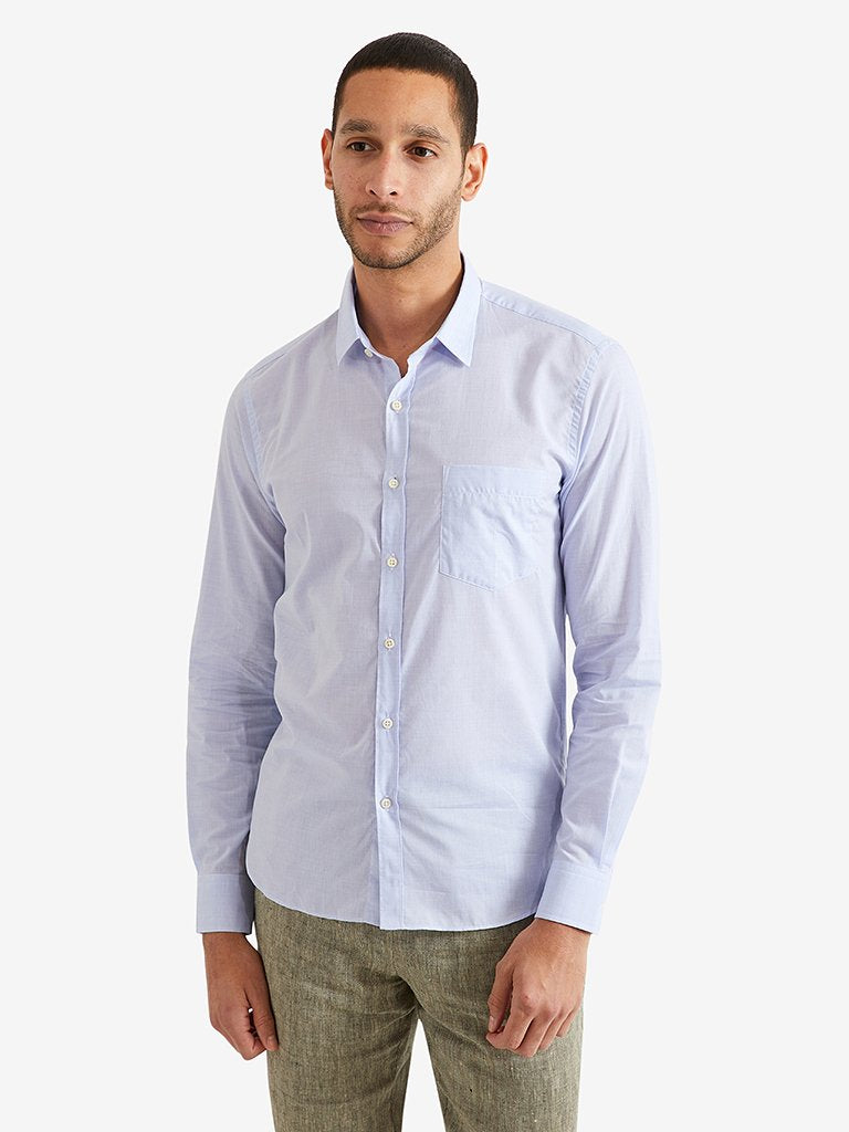 De-Bonne-Facture-Cotton-Chambray-Essential-Shirt-Blue