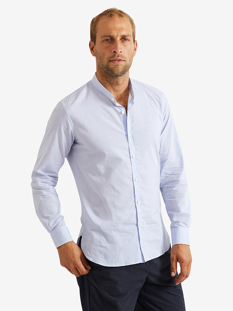 De Bonne Facture Mao Collar Shirt Cotton Chambray