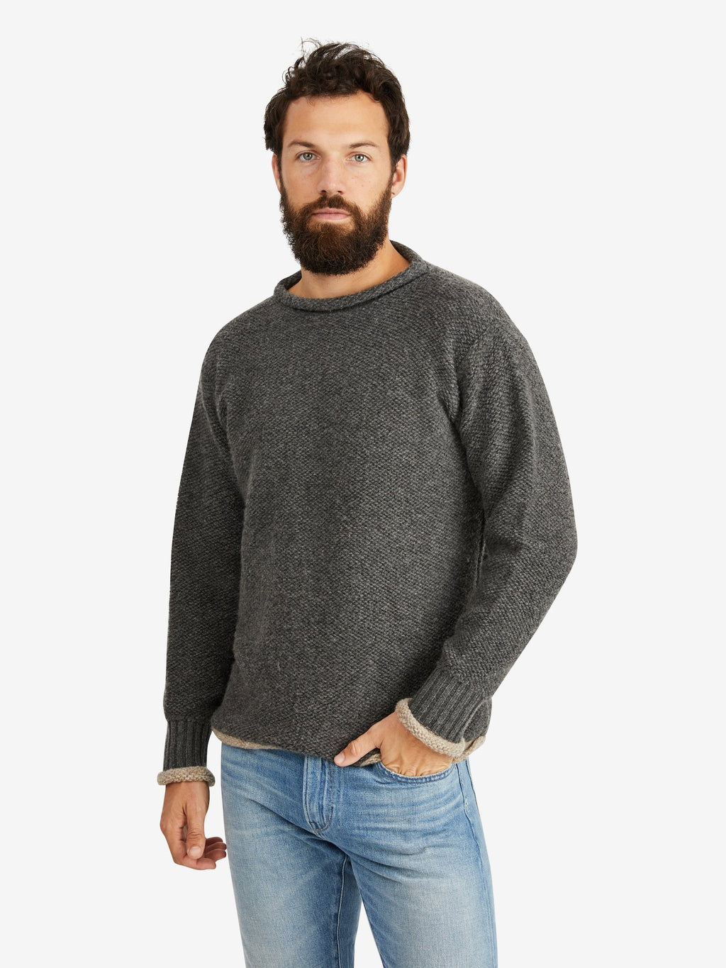 Harden-Reino-Roll-Neck-Sweater-Grey/Oatmeal
