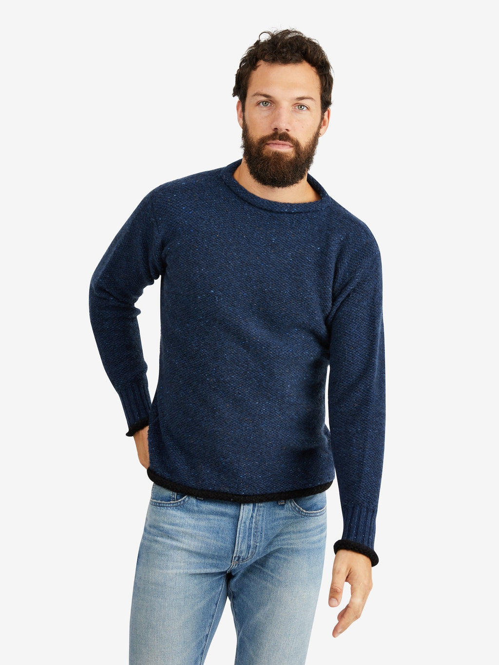 Harden-Reino-Roll-Neck-Sweater-Blue/Black