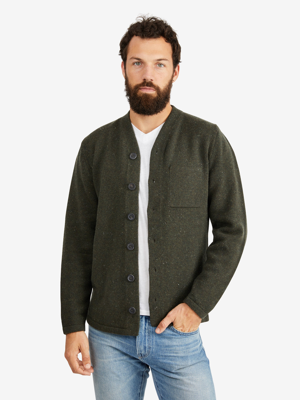 Inis Meain High V Wool Jacket