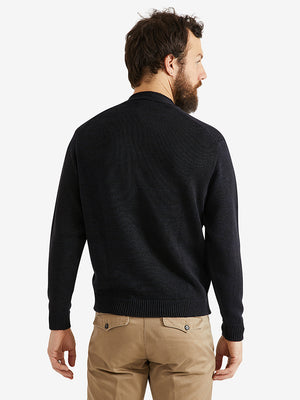 Inis Meain Hurler V-Neck Button Sweater Navan Black