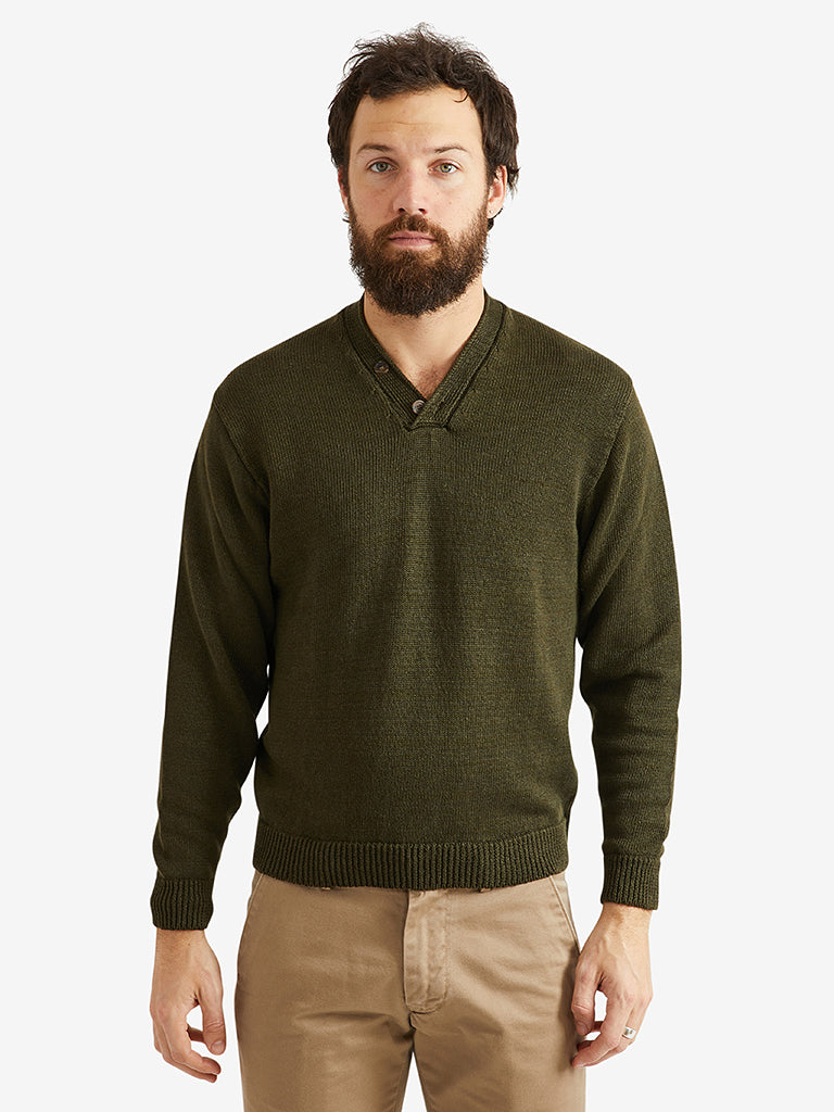 Inis Meain Hurler V-Neck Button Sweater Cypress