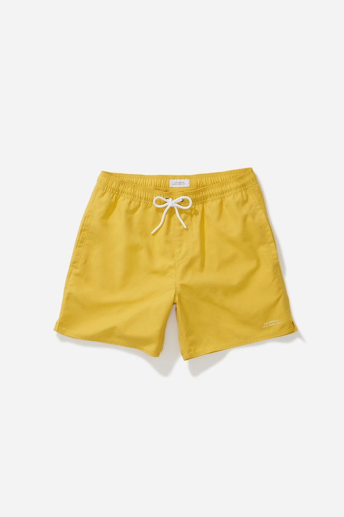 Saturdays NYC Timothy Solid Swim Short, Goldenrod-XL
