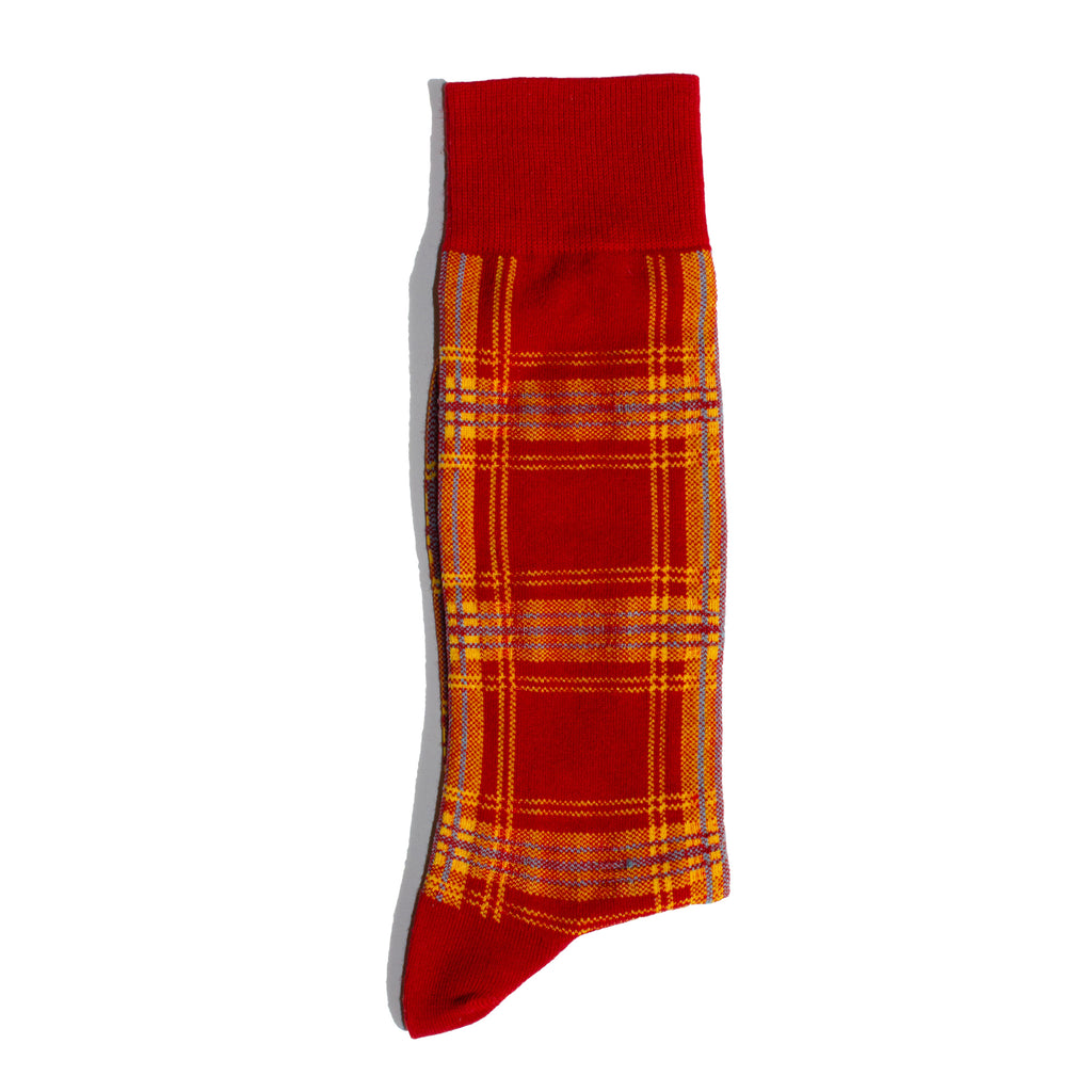 N/A-Plaid-Mid- Calf-Sock-Red