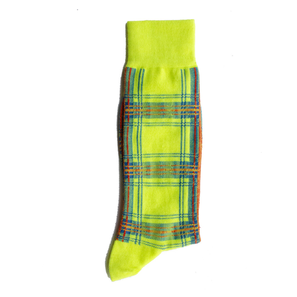 N/A-Plaid-Mid- Calf-Sock-Yellow