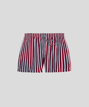 Ron-Dorff-Swim-Shorts-Vertical-Stripes-White/Navy/Red