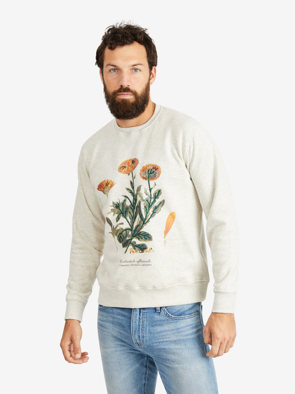 President's Calendula Embroidery Sweater Crew