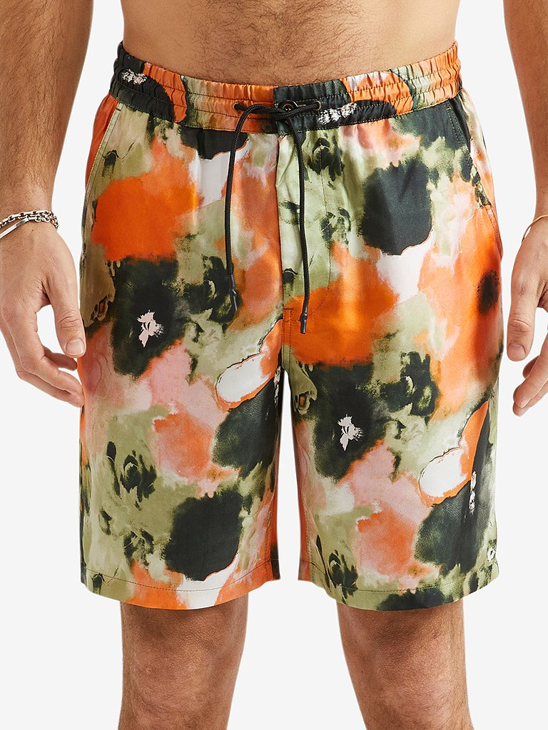 President's Newtripoli P's Psycho Flower Bermuda Short, Orange-XL