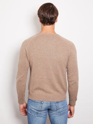 Hank Perfect Cashmere Rogers Raglan Crew Sweater Sable Heather