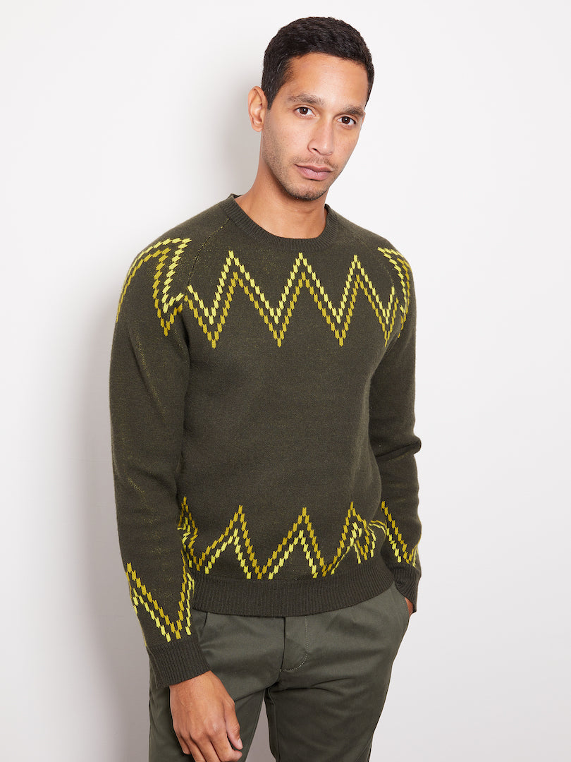 Hank Perfect Cashmere Rogers Raglan Crew w/ Jacquard, Olive/Yellow/Black-M
