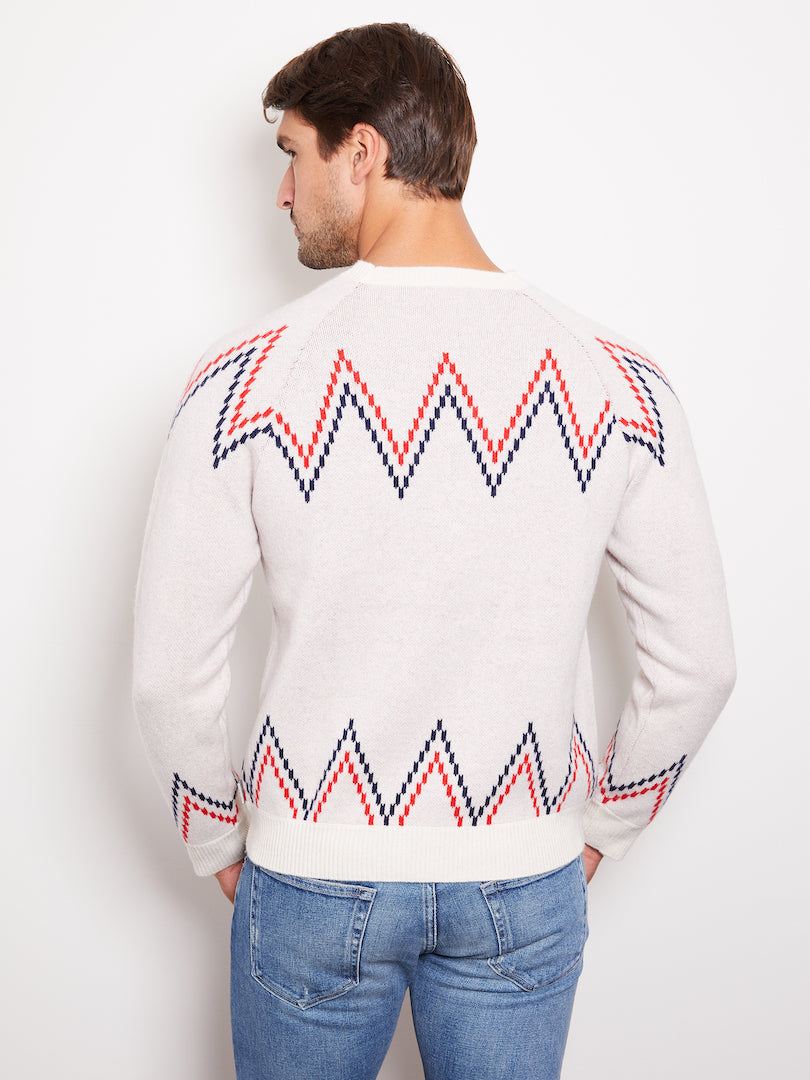 Hank Perfect Cashmere Rogers Raglan Crew w/ Jacquard, Cream/Red/Navy