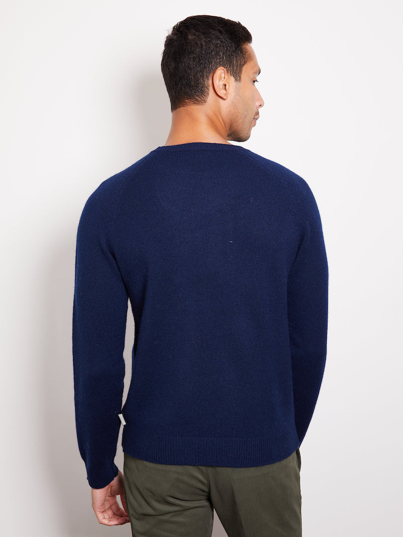 Hank Perfect Cashmere Rogers Raglan Crew Sweater Navy