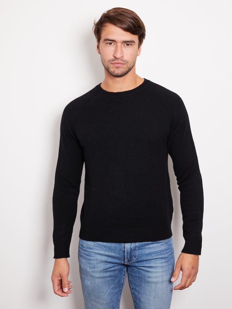 Hank Perfect Cashmere Rogers Raglan Crew Sweater Black
