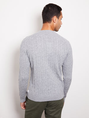 Hank Perfect Cashmere Madison Cable Crew Sweater Heather Gray