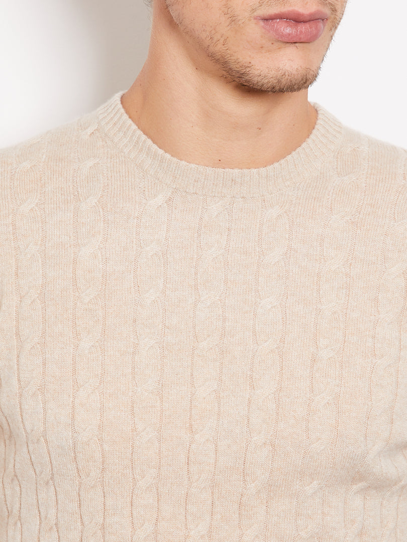 Hank Perfect Cashmere Madison Cable Crew Sweater Light Camel
