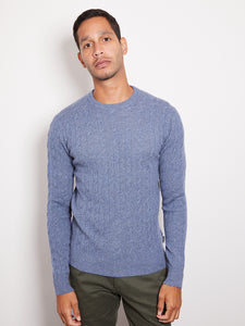 Hank Perfect Cashmere Madison Cable Crew Sweater Denim Heather