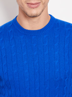 Hank Perfect Cashmere Madison Cable Crew Sweater Cobalt Blue