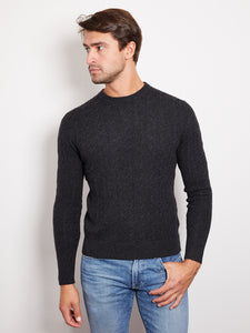 Hank Perfect Cashmere Madison Cable Crew Sweater Charcoal Gray