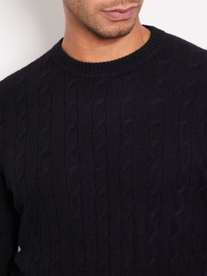 Hank Perfect Cashmere Madison Cable Crew Sweater Black