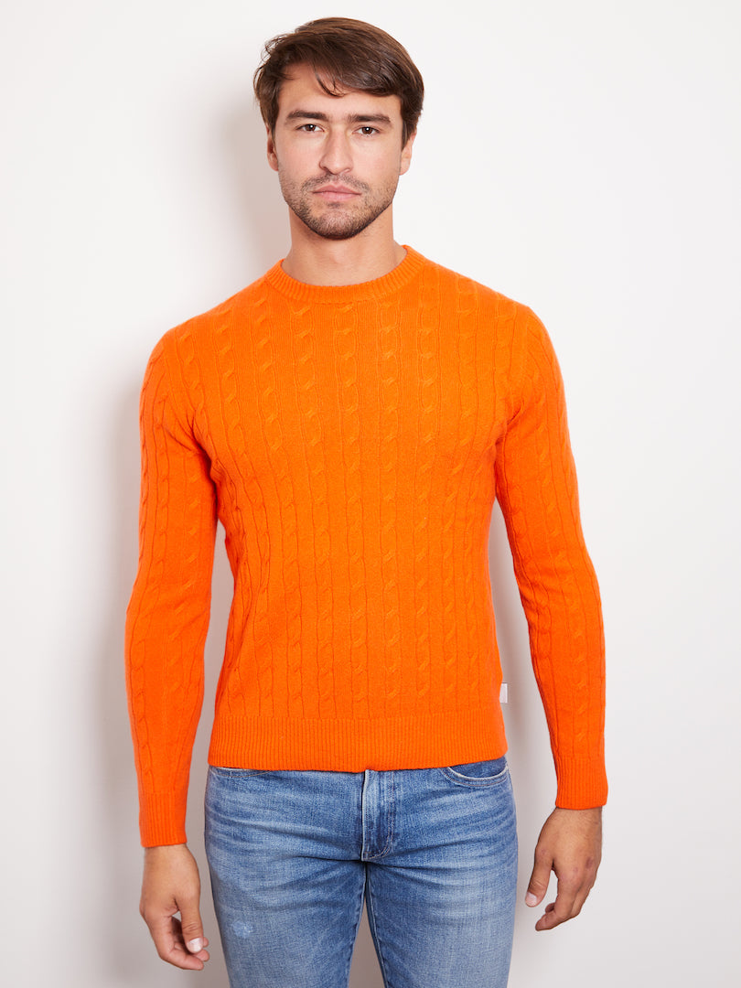 Hank Perfect Cashmere Madison Cable Crew Sweater Papaya Orange