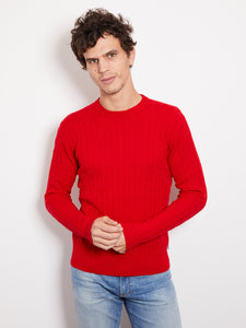 Hank Perfect Cashmere Madison Cable Crew Sweater Campfire Red