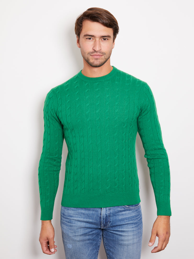 Hank Perfect Cashmere Madison Cable Crew Sweater Kelly Green
