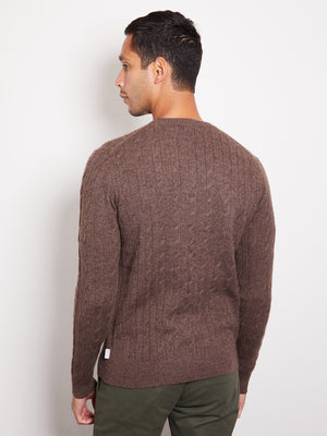 Hank Perfect Cashmere Madison Cable Crew Sweater Carbon Heather