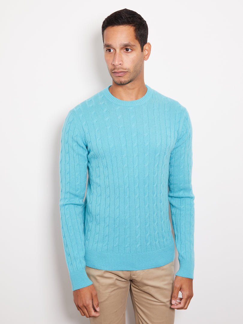 Hank Perfect Cashmere Madison Cable Crew Sweater Pool Blue