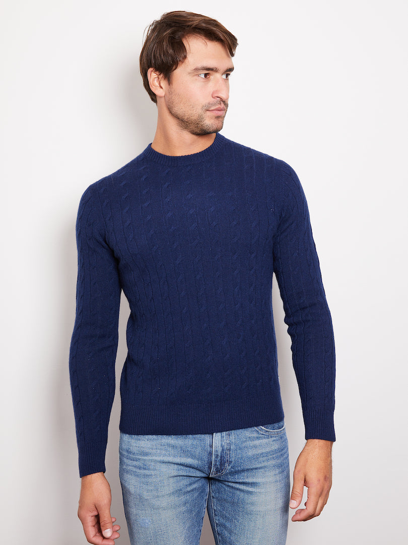 Hank Perfect Cashmere Madison Cable Crew Sweater Midnight Navy