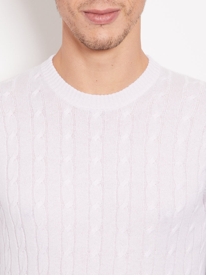 Hank Perfect Cashmere Madison Cable Crew Sweater Wisteria