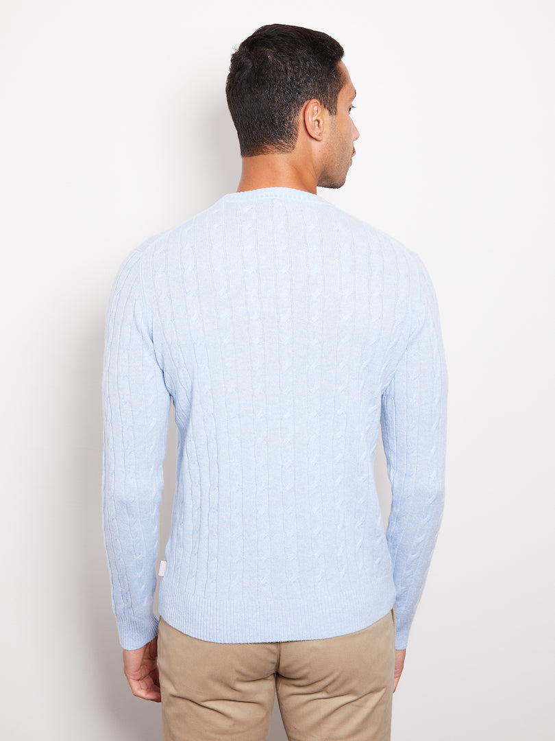 Hank Perfect Cashmere Madison Cable Crew Sweater Pale Blue