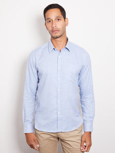 De-Bonne-Facture-Cotton-Chambray-Essential-Shirt-Denim-Blue