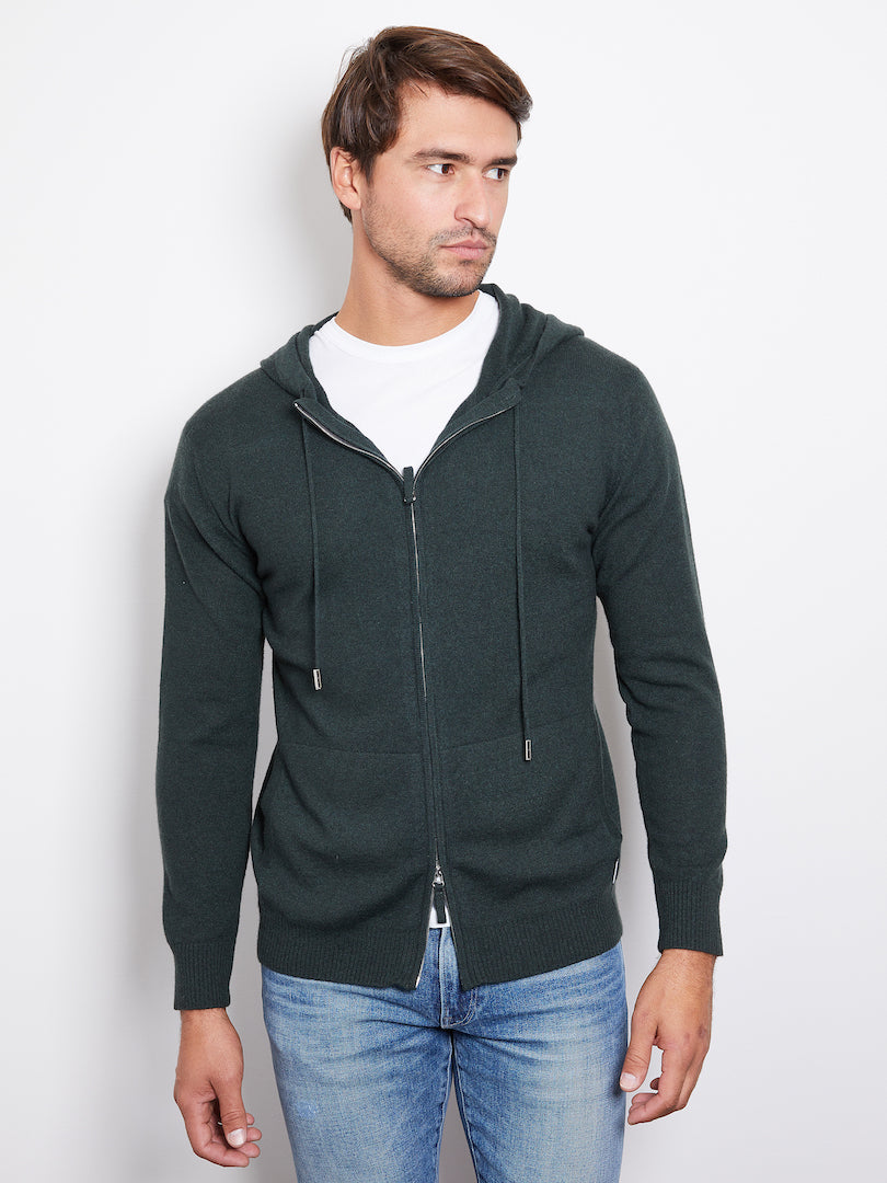 Hank Perfect Cashmere Latham Zip Hoodie, Hunter Green
