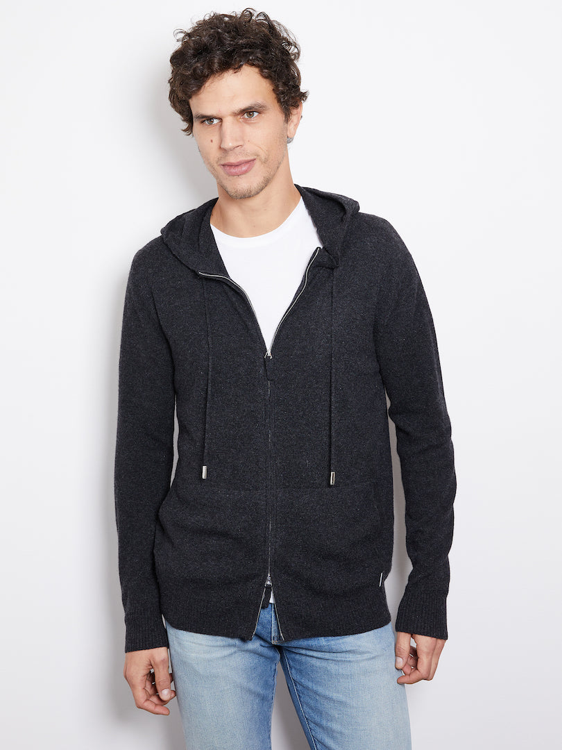 Hank Perfect Cashmere Latham Zip Hoodie, Charcoal