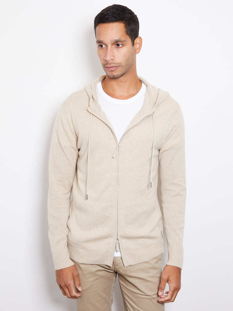 Hank Perfect Cashmere Latham Zip Hoodie, Sand